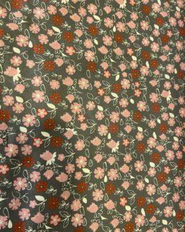 Baumwolle Blumen rosé auf grau